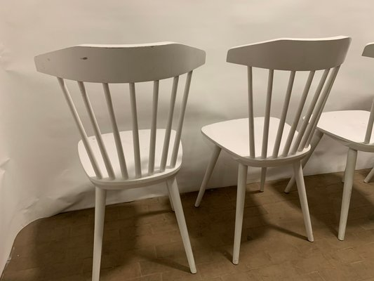 Mid Century Italian White Lacquered Oak Dining Chairs 1960s Set Of 4 For Sale At Pamono