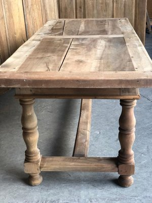 Mid 19th Century French Rustic Bleached Walnut Farmhouse Kitchen Dining Table For Sale At Pamono