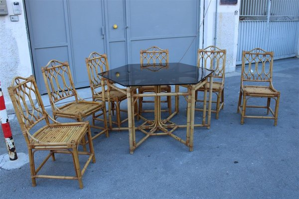 Italian Octagonal Dining Table Chairs Set 1950s Set Of 7 For Sale At Pamono