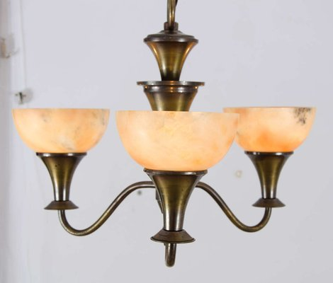 Art Deco Brass And Alabaster Ceiling Lamp 1930s For Sale At Pamono