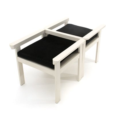 White Lacquered Wood And Black Velvet Dining Chairs 1960s Set Of 2 Bei Pamono Kaufen