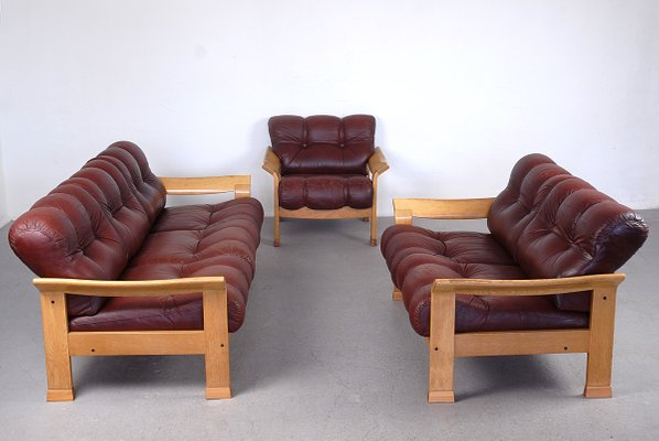 Vintage Danish Brown Leather 3-Piece Sofa Set for sale at Pamono