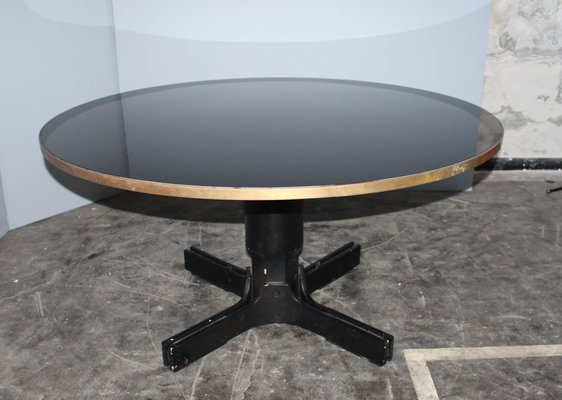 Mid-Century Italian Round Black Glass Dining Table for sale at Pamono