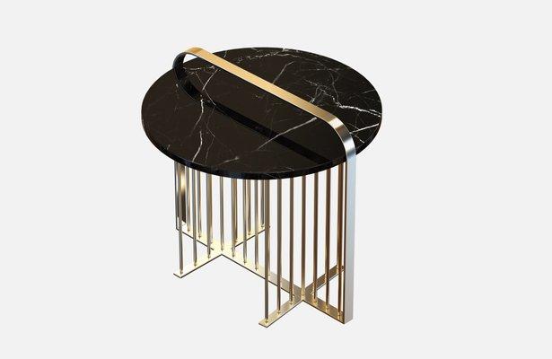 Table Basse Meister En Laiton Plaque Avec Marbre Noir Par Alex Baser Pour Miist
