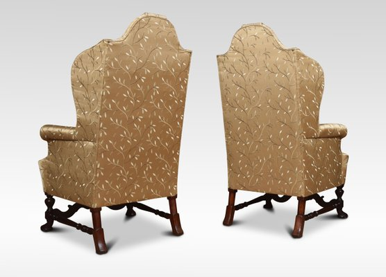 Antique High Back Wing Armchairs Set Of 2 For Sale At Pamono