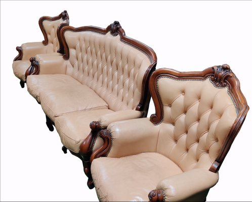 Antique Victorian Style Leather Sofa And Wingback Armchairs Set For Sale At Pamono