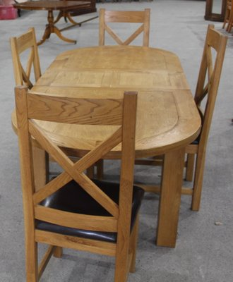 Solid Golden Oak Dining Table Chairs Set 1980s Set Of 5 For Sale At Pamono