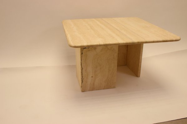 Vintage Square Travertine Marble Coffee Table For Sale At Pamono