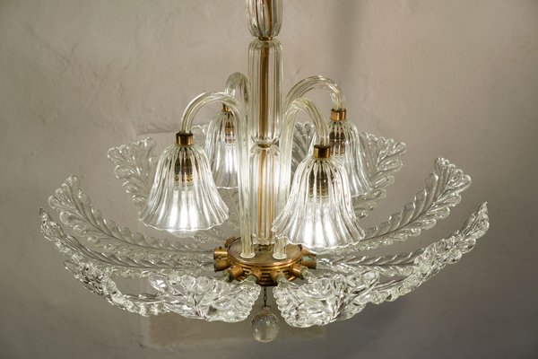 Vintage Art Deco Murano Glass Ceiling Lamp by Ercole Barovier for Barovier & Toso, 1930s
