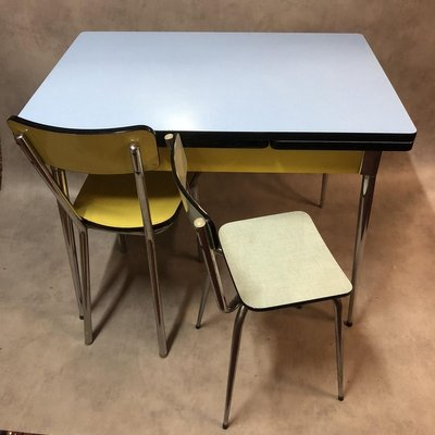 Blue Yellow And White Formica Dining Table 1950s For Sale At Pamono