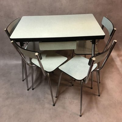 Pale Green Formica Dining Table Chairs Set 1950s Set Of 6 For Sale At Pamono