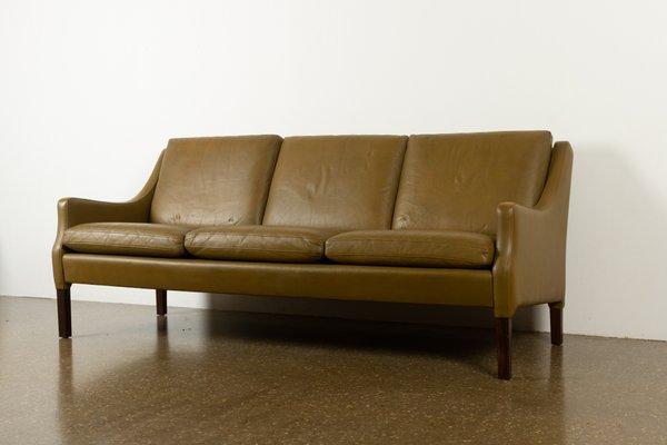 Vintage Danish Olive Green Leather Sofa, Green Leather Furniture