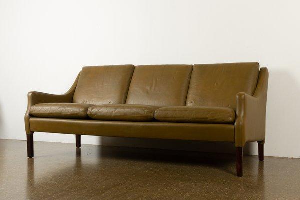 Vintage Danish Olive Green Leather Sofa, Vintage Modern Furniture Cleveland