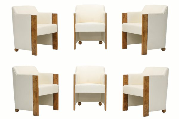 Silk Burl Wood Dining Tub Chairs From Thörmer 1980s Set Of 6 For Sale At Pamono