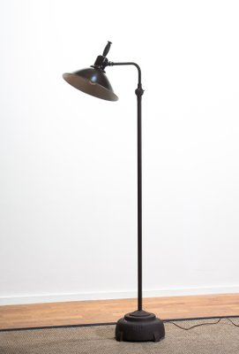 Industrial Brass and Cast Iron Floor Lamp from Faries Lamp Co., USA, 1933