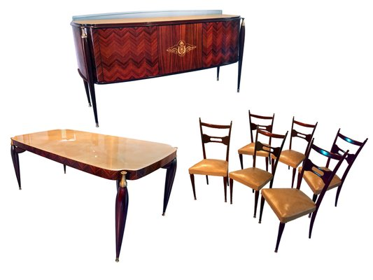 Office Cabin Interior Design, Mid Century Italian Rosewood Dining Table Chairs Set By Paolo Buffa 1950s Set Of 8 For Sale At Pamono
