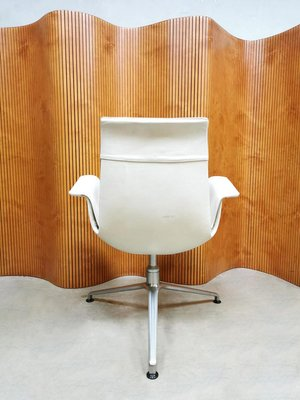 Vintage White Leather Tulip Office Chair From Kill International 1960s For Sale At Pamono