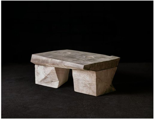 Original Sculpted Low Table In Oak Wood Denis Milovanov For Sale At Pamono