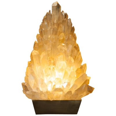 Amber Rock Crystal Table Lamp, Signed