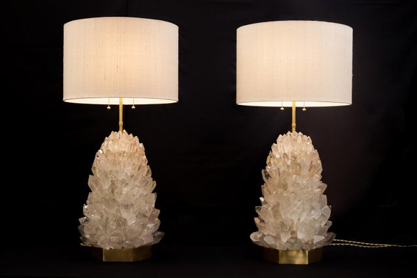Pair Of Natural Crystal Table Lamps Signed By Demian Quincke For Sale At Pamono