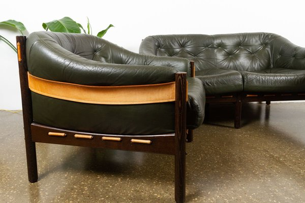 Vintage Green Leather Living Room Set 1970s Set Of 3 For Sale At Pamono