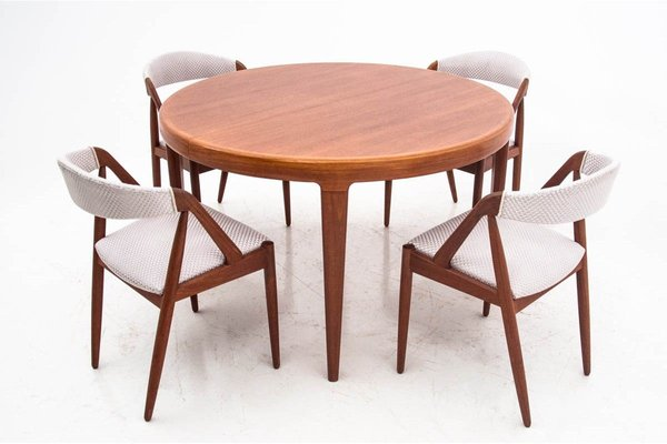 Teak Dining Table Chairs Set By Johannes Andersen 1960s Set Of 5 Bei Pamono Kaufen