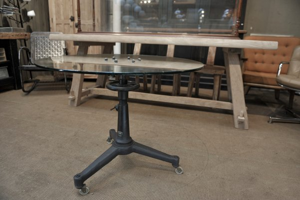 Industrial Adjustable Metal And Glass Round Dining Table 1940s Bei Pamono Kaufen