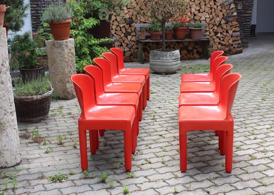 Vintage Space Age Italian Red Plastic Dining Chairs By Marcello Siard 1960s Set Of 8 Bei Pamono Kaufen