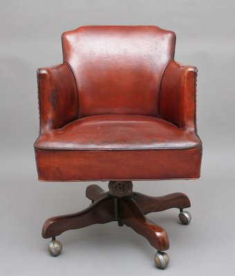 Mid Century Leather Swivel Desk Chair 1950s For Sale At Pamono