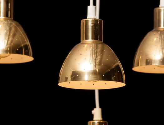 Brass Pendant Lamps by Hans Agne Jakobsson for Markaryd, Sweden, 1960s, Set of 4