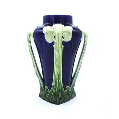 Antique Italian Blue And Green Floral Ceramic Vase 1900s For Sale At Pamono