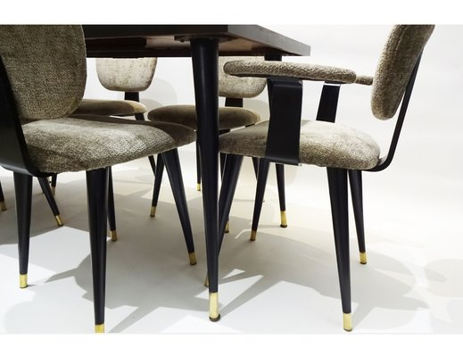 Mid Century Italian Butterfly Dining Table Chairs Set 1950s Set Of 7 For Sale At Pamono