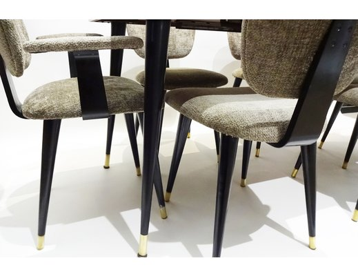 Office Cabin Interior Design, Mid Century Italian Butterfly Dining Table Chairs Set 1950s Set Of 7 For Sale At Pamono
