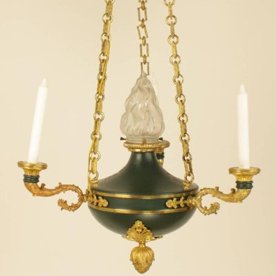 Directoire Style Green Tole Chandelier   French Antique Shop