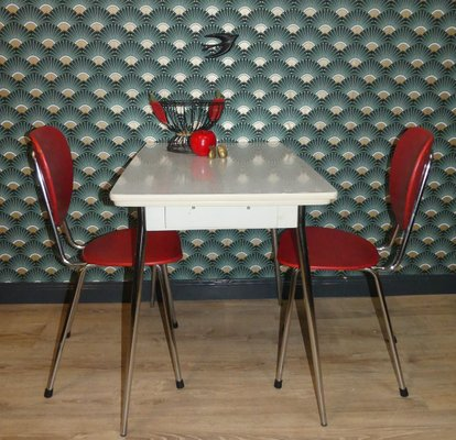 Mid Century Formica And Chrome Extendable Dining Table With Drawer 1950s For Sale At Pamono