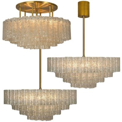 Pair of 1960s Staff Leuchten Large 3 Pendant Chandeliers