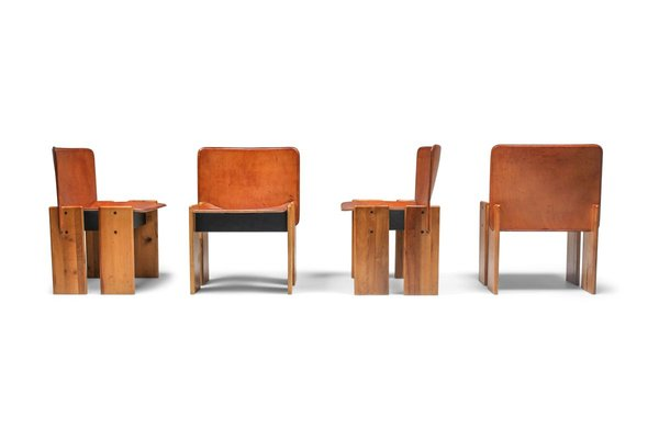 Cognac Leather Dining Chairs By Tobia Afra Scarpa 1970s Set Of 4 For Sale At Pamono