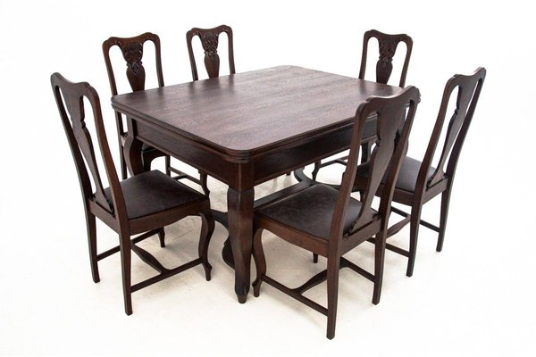 Antique Dining Table Chairs Set 1920s Set Of 7 For Sale At Pamono