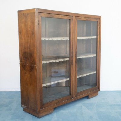 Vintage Wood And Glass Display Cabinet, Glass Display Cabinet Malaysia