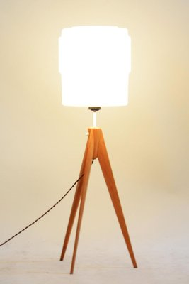 Mid Century Oak & Milk Glass Floor Lamp, 1950s
