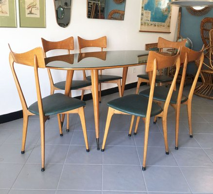 Mid Century Dining Table Chairs Set Attributed To Ico Parisi Set Of 7 For Sale At Pamono