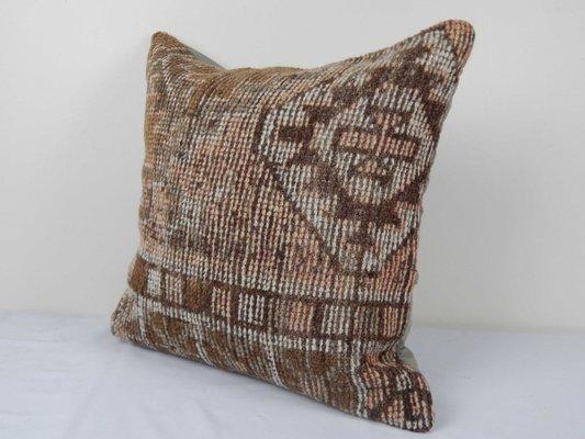 Oushak rug pillow cover, tribal turkish