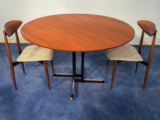 Mid Century Italian Round Teak Dining Table Chairs Set 1950s Set Of 3 For Sale At Pamono