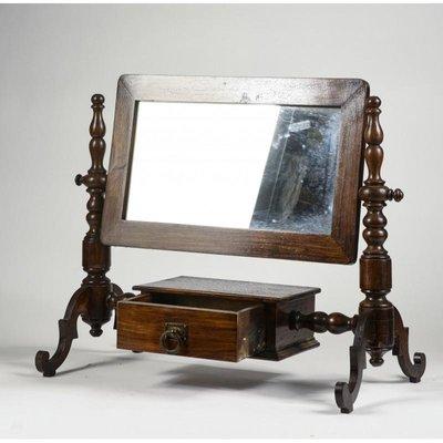 Antique Italian Walnut Dressing Table Mirror With Drawer En Vente Sur Pamono