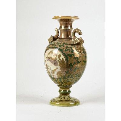 Mid Century  Luster-ware Vase Iridescent Marbled Glaze