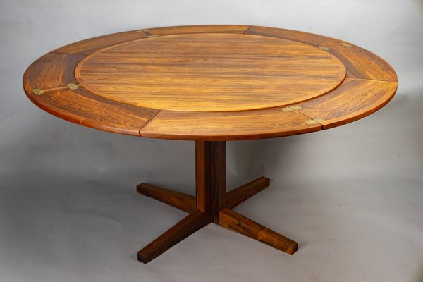 Round Extendable Rosewood Flip Flap, Round Expanding Dining Table