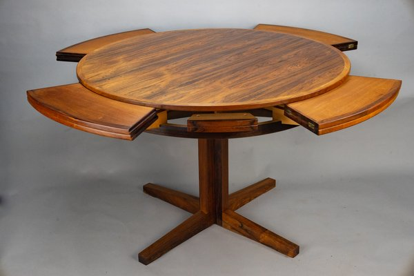 Round Extendable Rosewood Flip Flap, Round Dining Table With Extension Leaf