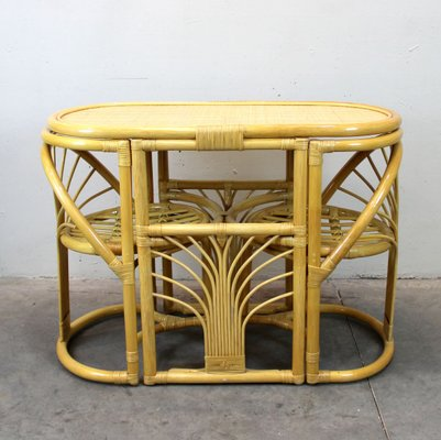 Bamboo And Rattan Game Table Chairs, Round Gaming Table With Chairs