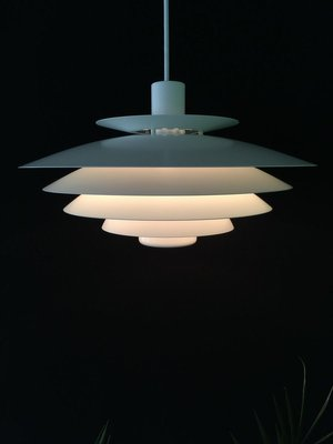 Large Danish White Multi Layered Pendant Lamp from Form Light, 1980s