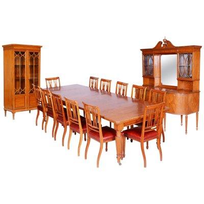 19th Century British Satin Wood Dining, Dining Room Chairs Maple